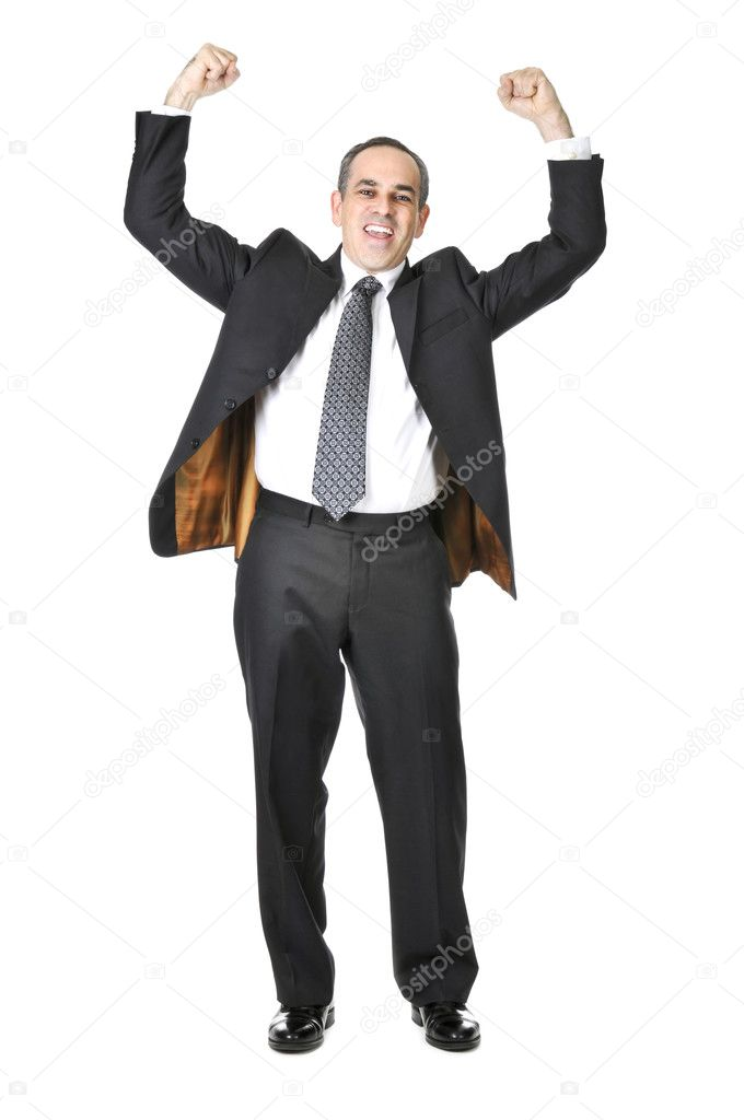 Triumphant businessman in a suit isolated on white background — Stock Photo #4719904