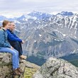 Stock Photo: Father and daughter in mountains