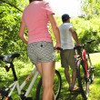 Family on bicycles — Stock Photo