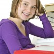 Stock Photo: Teenage girl studying