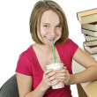 Teenage girl with milkshake - Lizenzfreies Foto