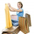 Teenage girl with shopping bags — Foto Stock