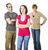 Teenage girl in trouble with parents — Stock Photo
