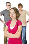 Teenage girl in trouble with parents — Stockfoto