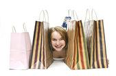 Alışveriş torbaları ile genç kız — Stok fotoğraf
