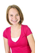 Teenage girl smiling with braces — Stock Photo