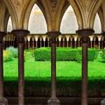 Mont Saint Michel cloister garden — Stock Photo