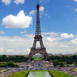 Eiffel tower from Trocadero - Stock Photo
