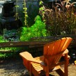Patio and pond landscaping — Stock Photo