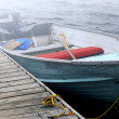 Boat in a fog — Stock Photo