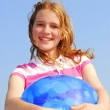Young girl with beach ball — Stock Photo