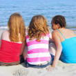 Girls on beach — Stock Photo