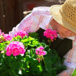 Senior woman gardening — Stock Photo