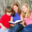 Family reading a book — Stock Photo #4826094