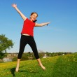 Young girl jumping — Stock Photo