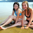 Two girls in water — Stock Photo