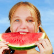 Girl with watermelon — Stock Photo