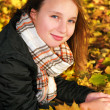 Girl in a fall park — Stock Photo