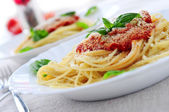 Pasta and tomato sauce — Stock fotografie