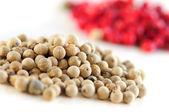 Granos de pimienta rojas y blancas — Foto de Stock
