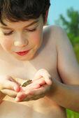 мальчик с лягушка — Стоковое фото