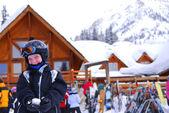 Child at downhill skiing resort — Stock Photo