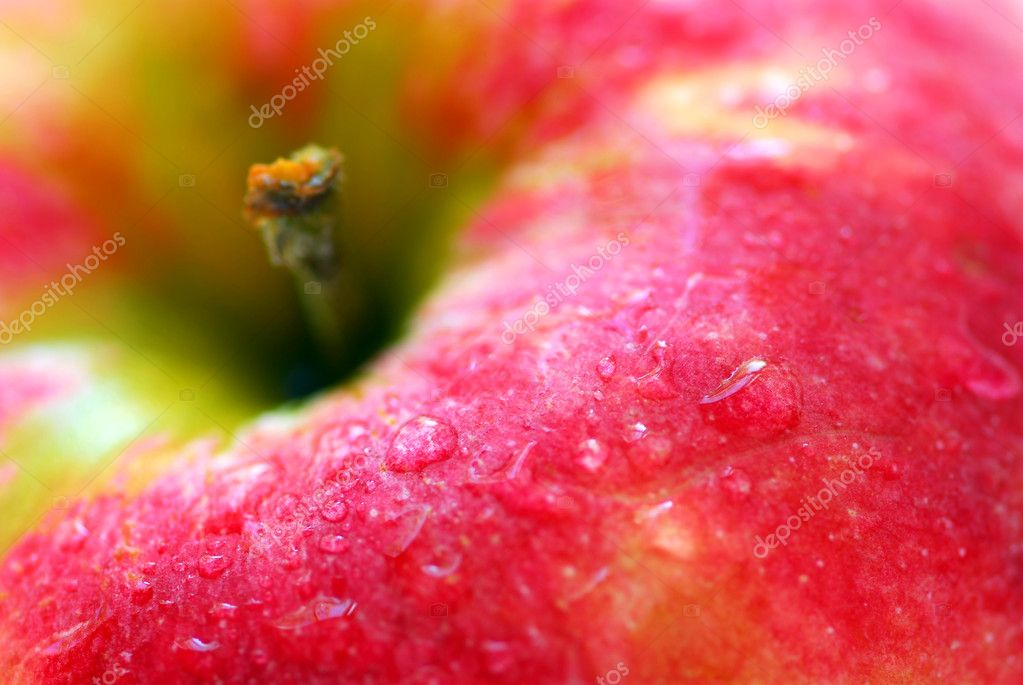 Macro of red apple with water droplets — Stock Photo #4824211