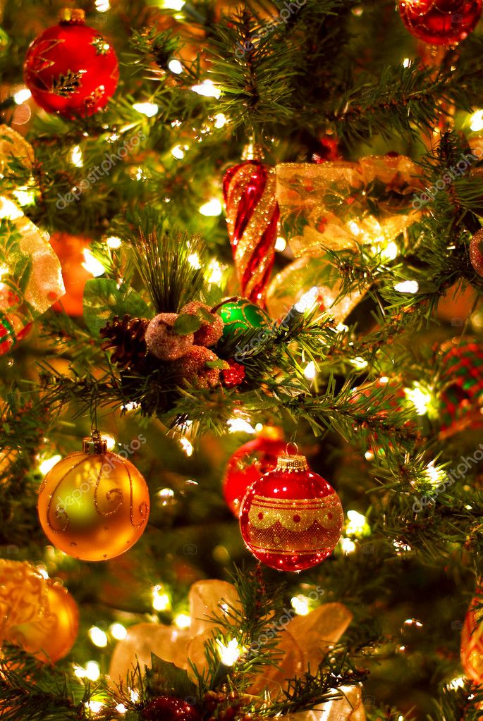 Background of decorated Christmas tree with lights   #4824287