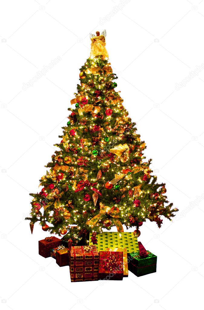 Decorated Christmas tree with presents isolated on white background — Stock Photo #4824289