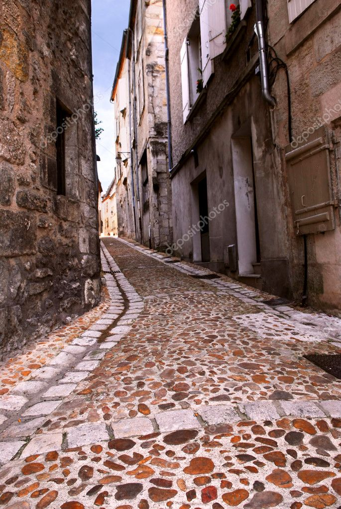 Narrow medieval street in town of Perigueux, Perigord, France  Stock Photo #4825482