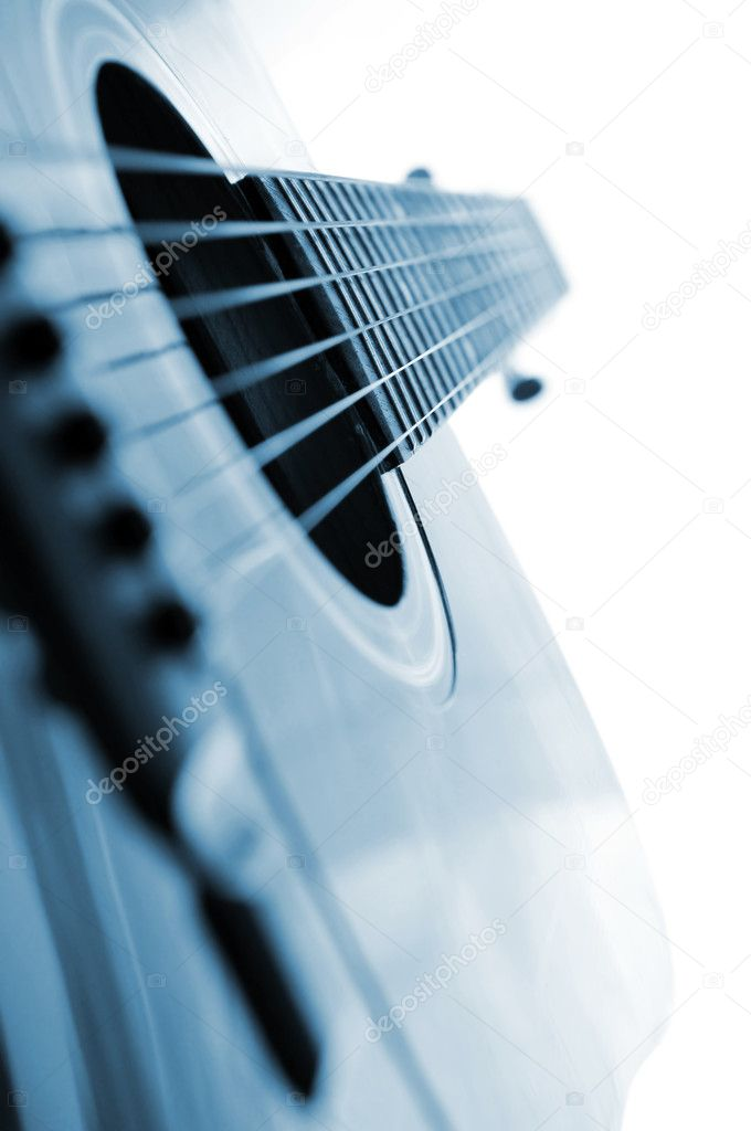 Acoustic guitar close up on white background — Stock Photo #4825610