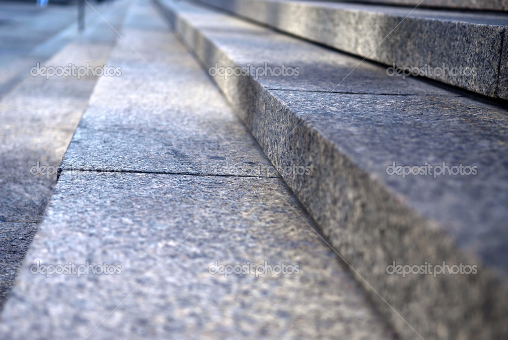 Stairway with granite stone steps in perspective, close up  Stock Photo #4825802