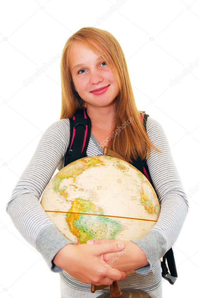 Young smiling school girl with a backback and a globe isolated on white background — Stock Photo #4826337