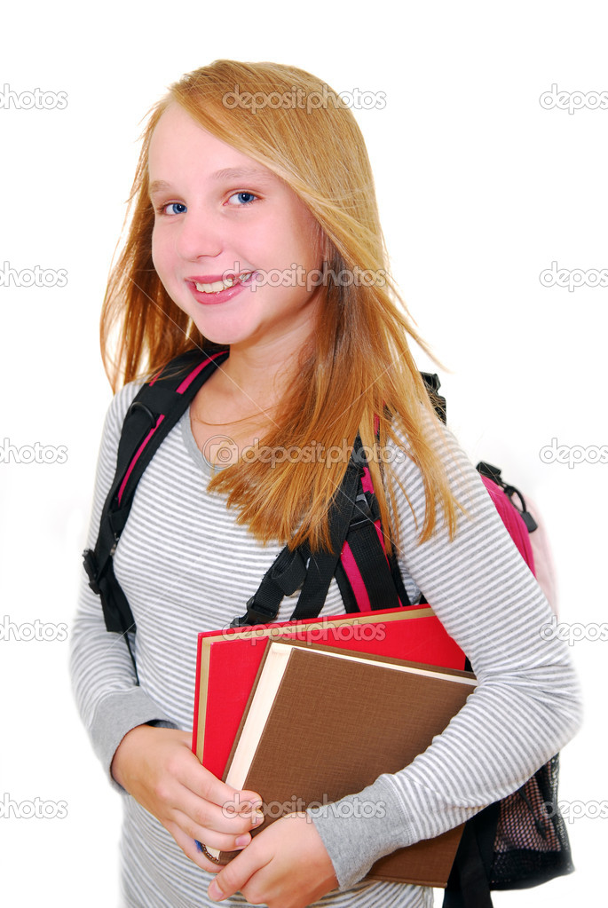 Young smiling school girl with backback and books isolated on white background  Stock Photo #4826340