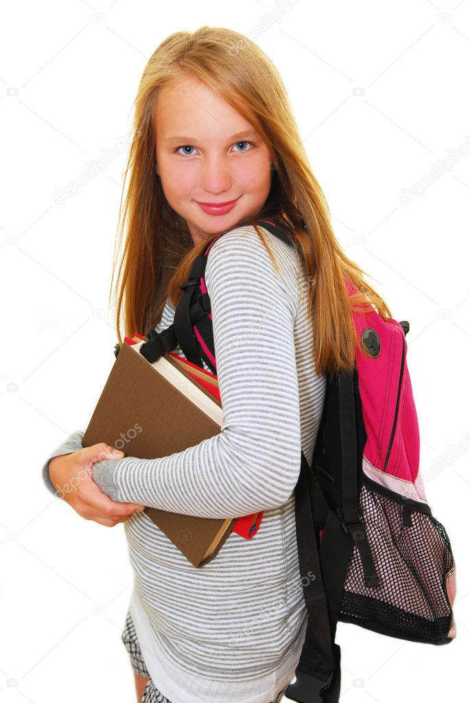 Young smiling school girl with backpack and books isolated on white background — Stock Photo #4826342