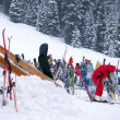 Stock Photo: Downhill skiing