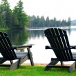 Lake beach chairs — Stock Photo