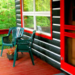 Log cabin deck - Foto Stock
