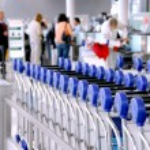 Passengers carts airport — Stock Photo
