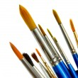 Paintbrushes on white - Stock Photo