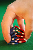 """Close up on man's hand doing a pocker chip trick """"shuffle"""" — Stock Photo"""