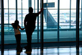 Family airport — Stock Photo