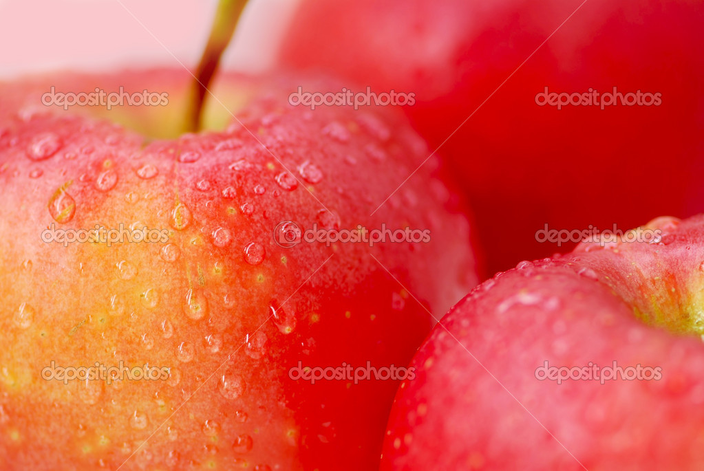 Three red apples with water droplets close up — Stock Photo #4947656