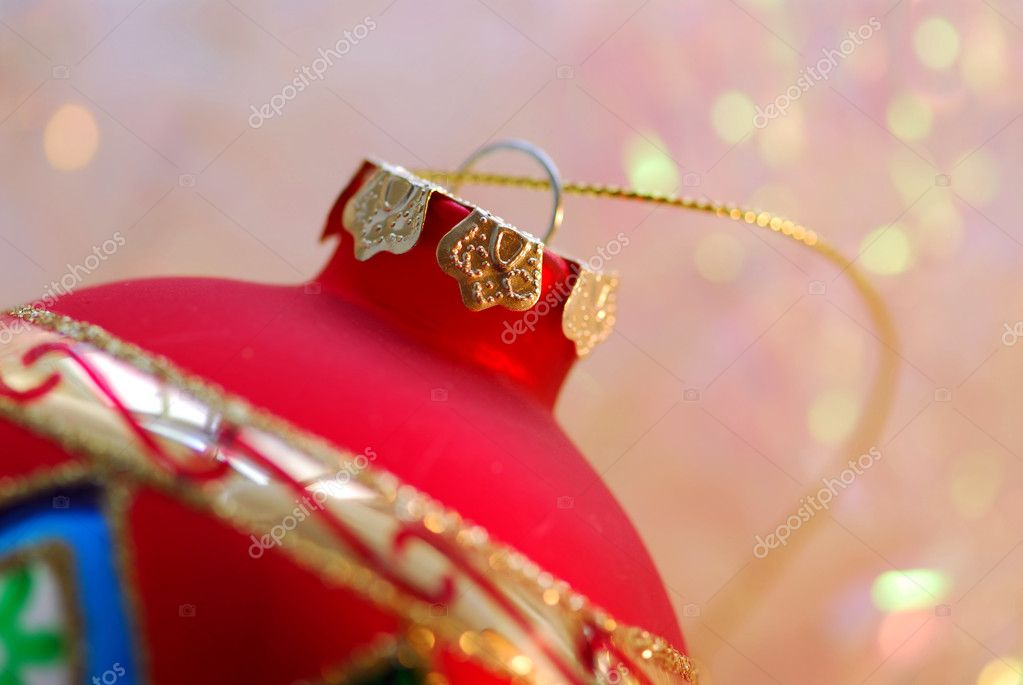 Closeup of red christmas tree ornament glass ball — Stock Photo #4948943