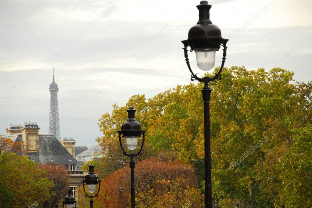 Street in Paris France with lightposts on overcast autumn day — Stock Photo #4948998