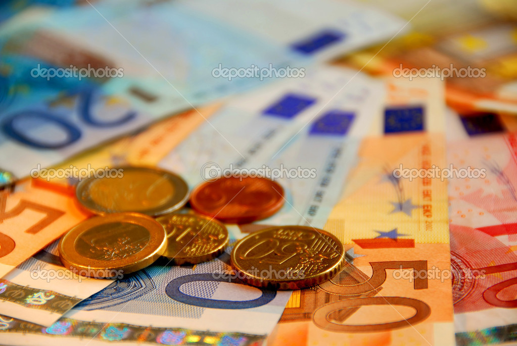 Background of bills and coin of european union currency, shallow dof — Stock Photo #4949277