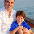 Father son pier — Stock Photo