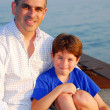 Stock Photo: Father son pier