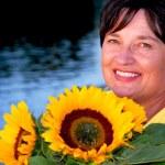Woman sunflowers — Stock Photo #4953997