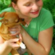 Girl with a dog - Stock Photo